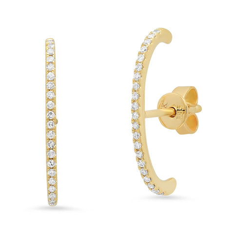 curved bar ear studs hip 14k gold sachi jewelry