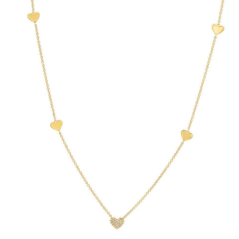Sachi Jewelry Pave Diamond Heart Necklace with Heart Accents 14K Yellow Gold