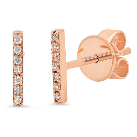 delicate dainty micro mini bar diamond studs earrings 14K rose gold sachi jewelry