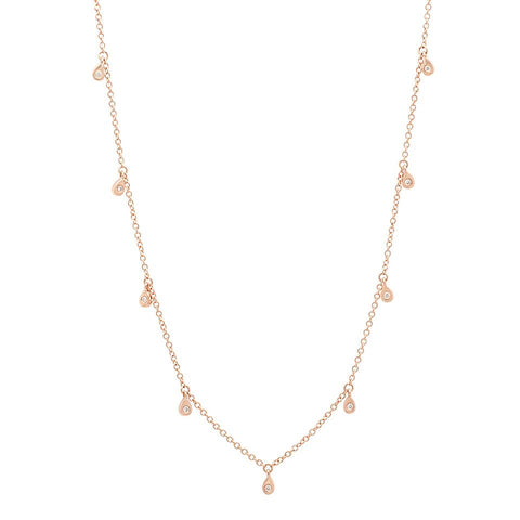 delicate dainty pear drop diamond shaker 14K rose gold sachi jewelry