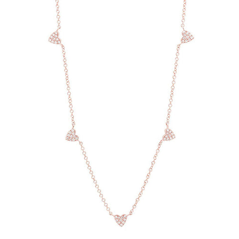 station heart diamond necklace 14K rose gold sachi jewelry