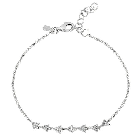 delicate dainty mini triangle train diamond bracelet 14K white gold sachi jewelry