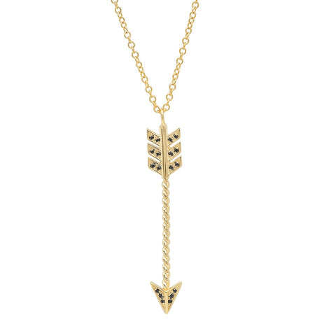 black diamond arrow 14 k gold edgy unique necklace sachi jewelry