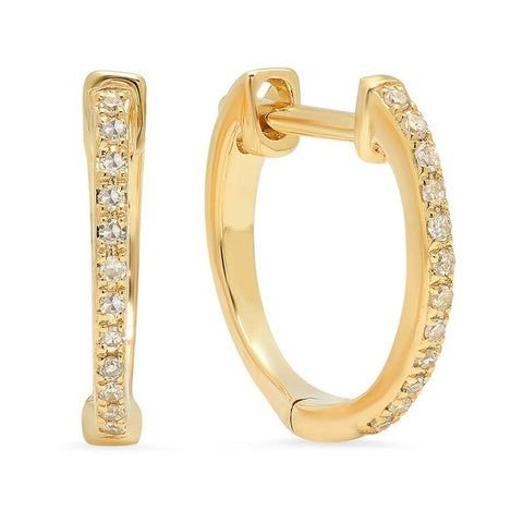 diamond huggies classic earrings 14K yellow gold sachi jewelry