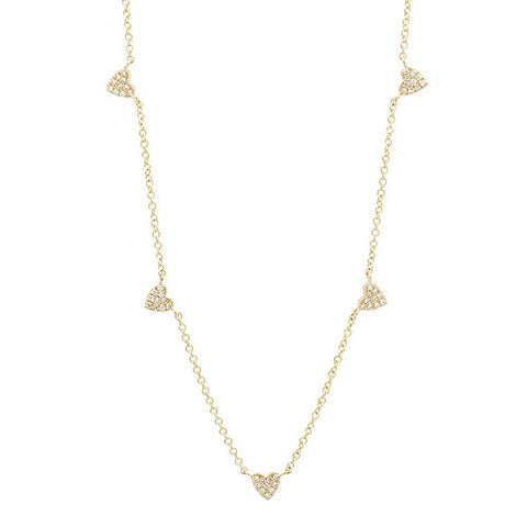 station heart diamond necklace 14K yellow gold sachi jewelry