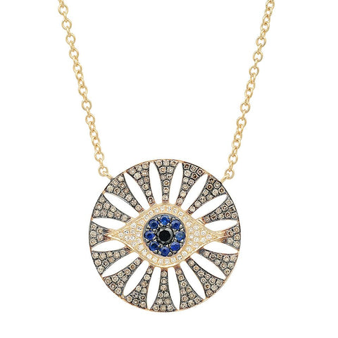 14K gold Evil eye diamond necklace sapphire unique statement jamie chung