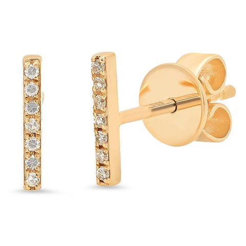 delicate dainty micro mini bar diamond studs earrings 14K yellow gold sachi jewelry