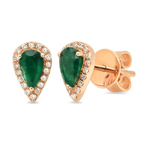emerald pear studs earrings diamond 14K yellow gold jewelry