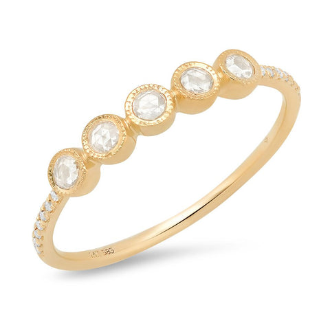 sachi fine jewelry rose cut diamond 14K gold band stacking