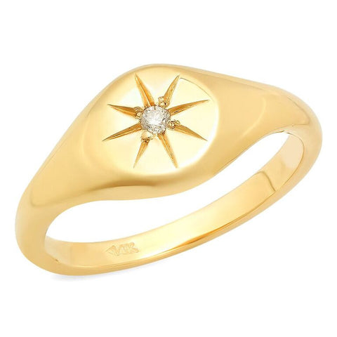 star pinky diamond signet ring 14K yellow gold sachi jewelry
