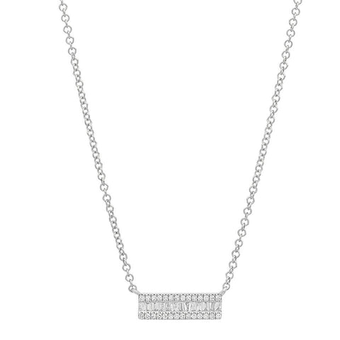 delicate dainty mini baguette segment diamond necklace 14K white gold sachi jewelry