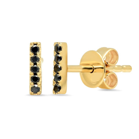 black diamond bar stud earrings pave dainty delicate sachi jewelry