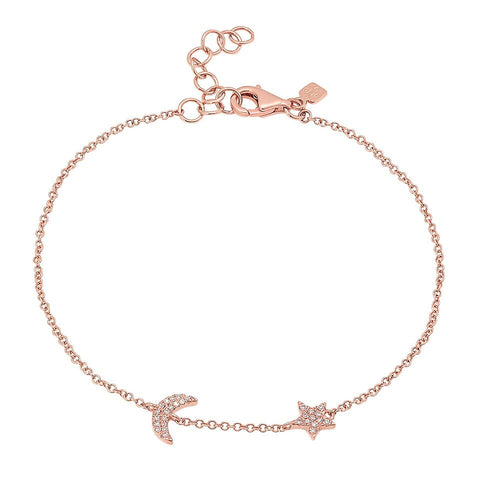 delicate dainty moon star diamond bracelet 14K rose gold sachi jewelry