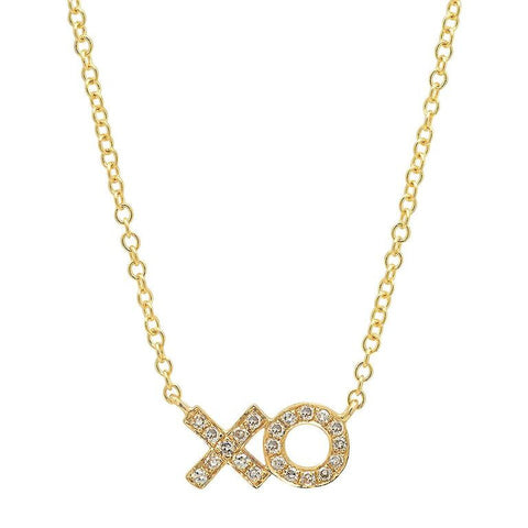 xo diamond necklace 14K yellow gold sachi jewelry