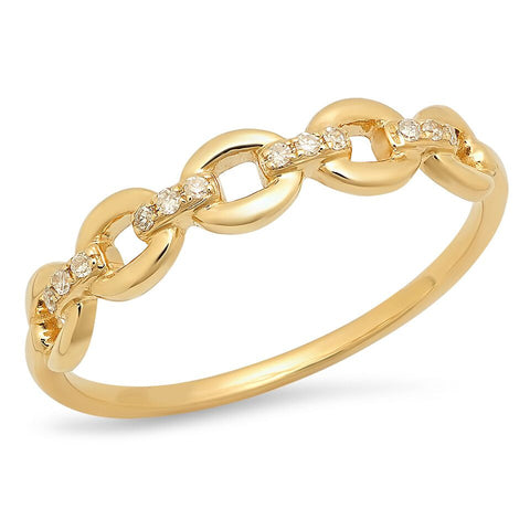 open link diamond ring 14K yellow gold sachi jewelry