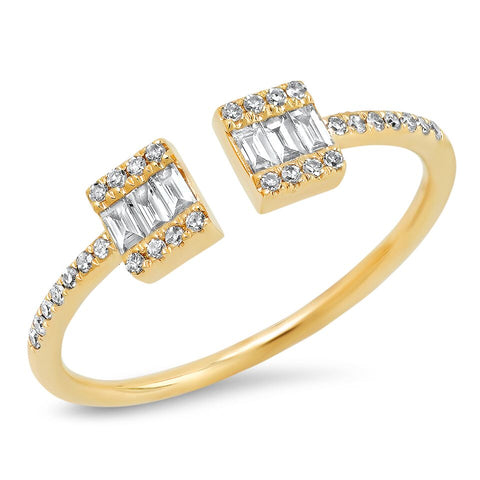 Baguette Cuff Ring With Diamond Band