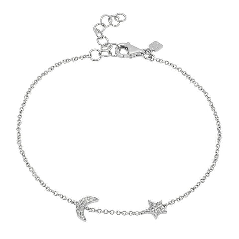 delicate dainty moon star diamond bracelet 14K white gold sachi jewelry