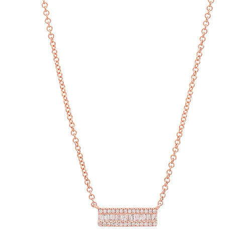 delicate dainty mini baguette segment diamond necklace 14K rose gold sachi jewelry