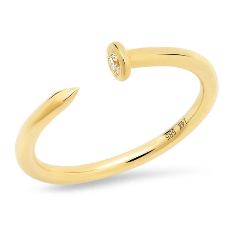 14K yellow gold nail ring diamond sachi fine jewelry stacking edgy