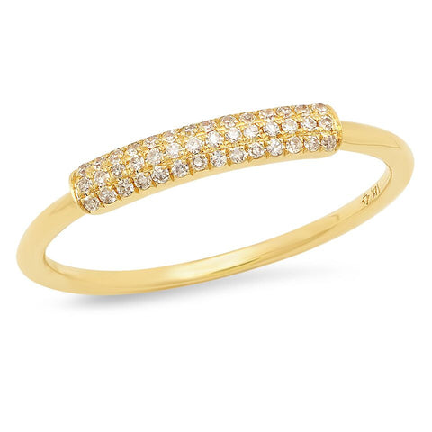 dainty pave diamond segment band ring 14K yellow gold sachi jewelry
