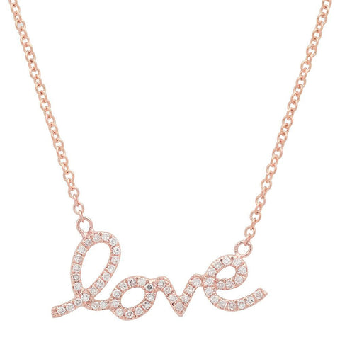 script love diamond necklace 14K rose gold sachi jewelry