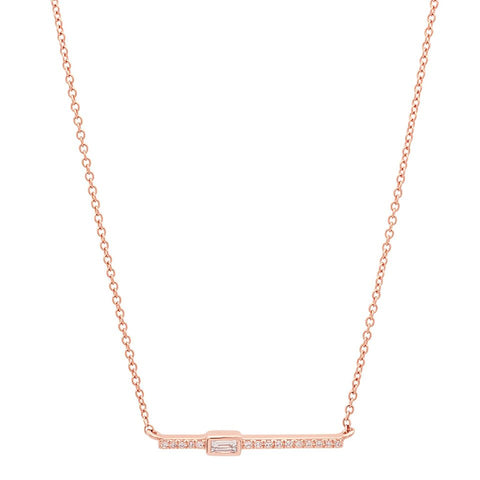 Single Baguette Bar Necklace