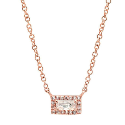 dainty white topaz diamond bar necklace 14K rose gold sachi jewelry