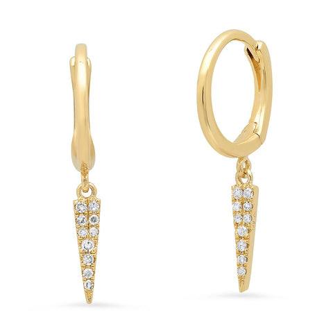 dagger diamond dangle hip earrings huggies 14K gold sachi fine jewelry