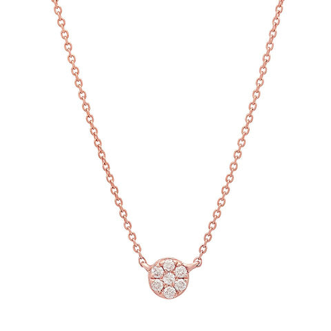 delicate dainty floating round diamond necklace 14K rose gold sachi jewelry