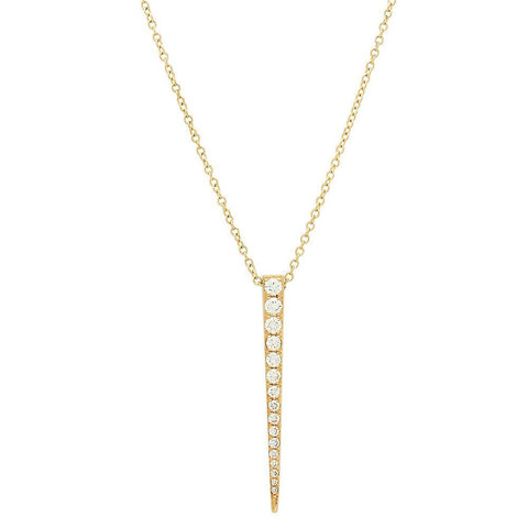 long dagger diamond dainty delicate necklace 14K yellow gold sachi jewelry