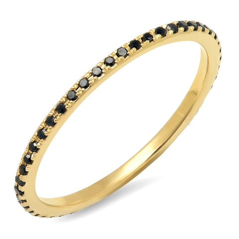black diamond eternity delicate dainty ring 14k gold sachi jewelry stacking rings