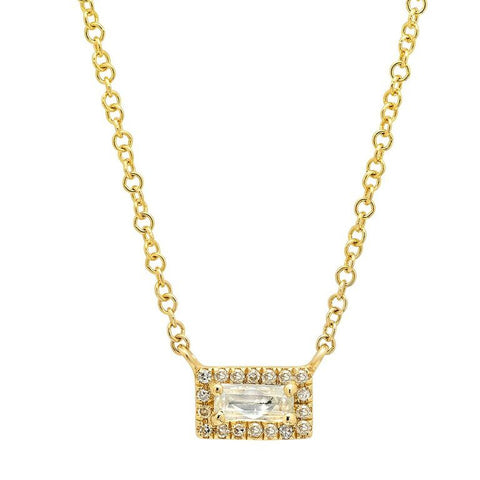 dainty white topaz diamond bar necklace 14K yellow gold sachi jewelry