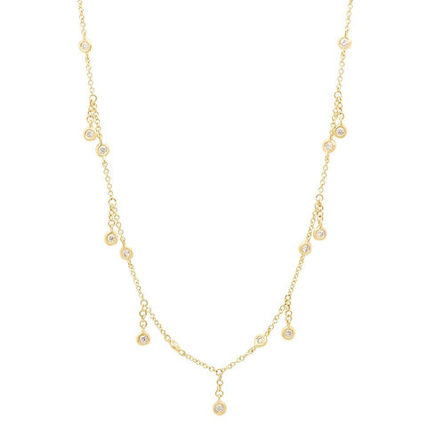 bezel diamond shaker delicate dainty sachi fine jewelry necklace 14k gold