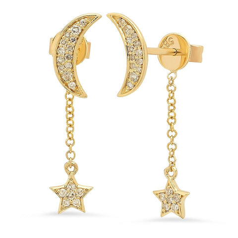 dainty moon star dangle earrings 14K yellow gold sachi jewelry
