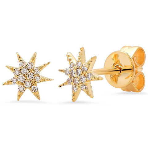 mini starburst diamond studs earrings 14K yellow gold sachi jewelry