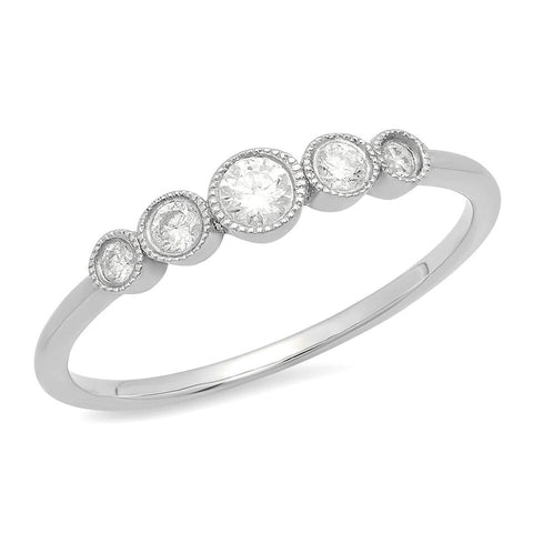 5 diamond graduated 14K solid white gold delicate sachi ring