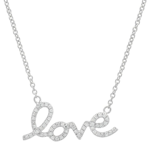 script love diamond necklace 14K white gold sachi jewelry