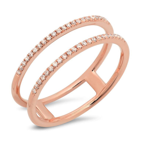 double spiral ring diamond 14K rose gold jewelry