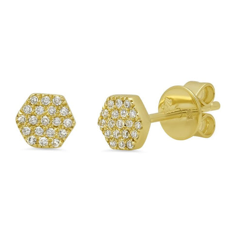 mini hexagon pave diamond studs earrings 14K yellow gold sachi jewelry