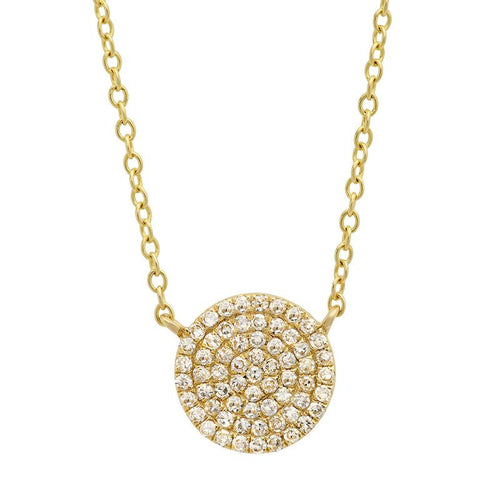 disc diamond station classic necklace 14K yellow gold sachi jewelry