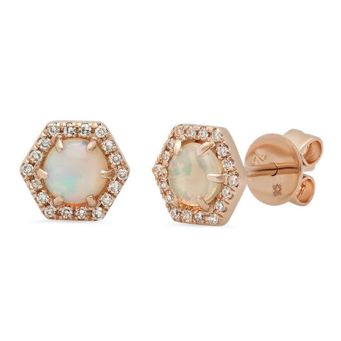 hex opal studs diamond earrings 14K rose gold jewelry