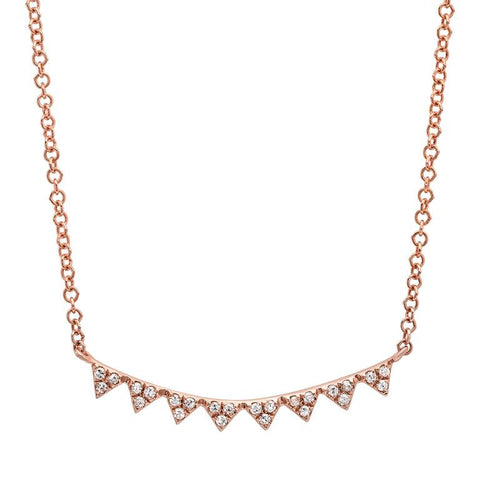 mini triangle curve diamond necklace 14K rose gold sachi jewelry