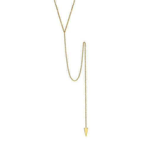 delicate dainty v lariat diamond necklace 14K yellow gold sachi jewelry
