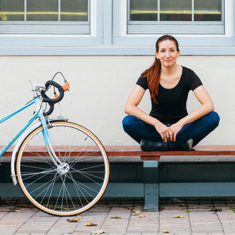 Michelle the founder of the one less car cycling accessory store
