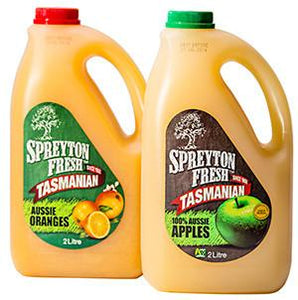 Tassie Apple or Orange Juice 2Lt