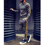 New 3D print fashion brand zipper hooded gymnastics fitness running pants + sports jacket autumn and winter hoodies men's suit