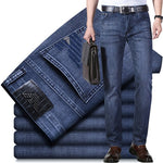 Luren Loose Straight Stretch Business Men's Jeans Summer Casual Slim Straight Denim Trousers Cotton Pants