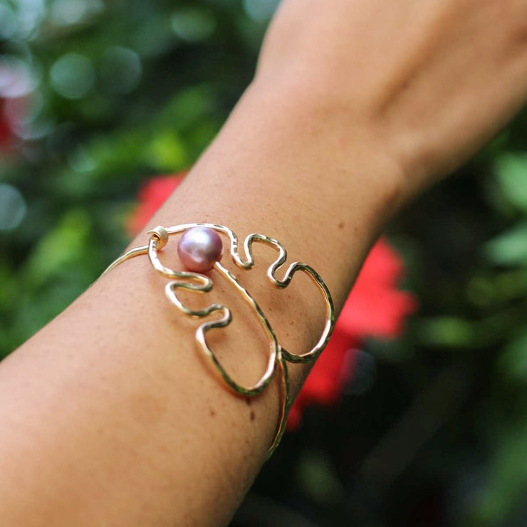 Edison Pearl Large Monstera Cuff - Yay Hawaii