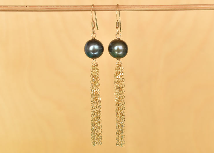 Black Pearl Tassel Earrings - Yay Hawaii