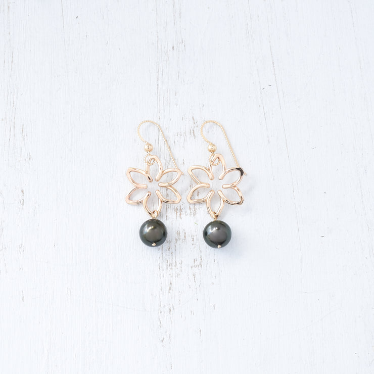 Small Tiare Earrings With Dangling Pearls - Yay Hawaii